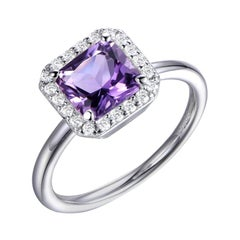 Sterling Silver 3 Carat Purple Asscher Cut Royal Halo Round Brilliant Cuts Ring