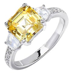 Sterling Silver 3.50 Carat Intense Yellow Asscher Cut Fancy Engagement Ring