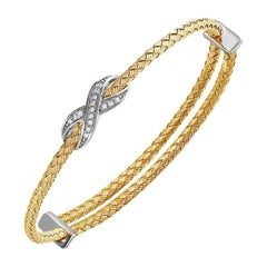 Sterling Silver 3mm Mesh Expandable Cuff Bracelet with CZ, 18K Gold Finish