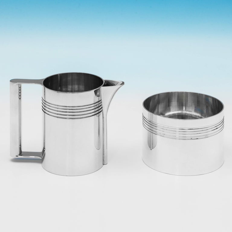 Modernist Sterling Silver 4-Piece Batchelor Tea Set by A. E. Jones, 1995 In Good Condition For Sale In London, London