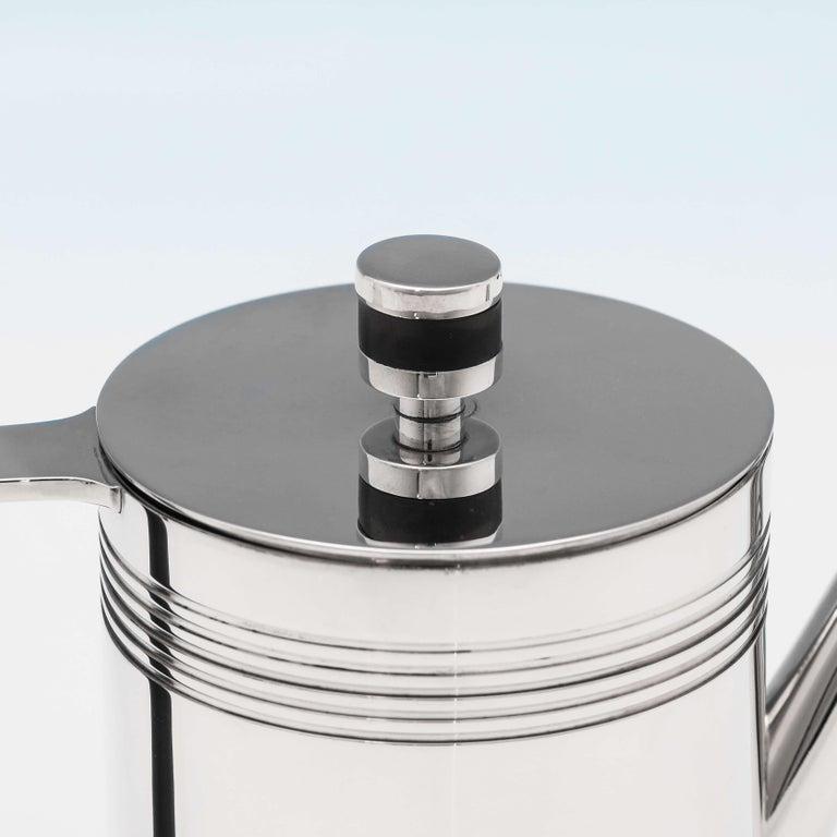 Late 20th Century Modernist Sterling Silver 4-Piece Batchelor Tea Set by A. E. Jones, 1995 For Sale