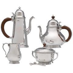 Queen Anne Revival Heavy Sterling Silver Tea Set by William Comyns in 1964