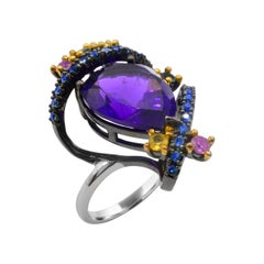 Sterling Silver 5.0 Carat Amethyst and Multi-Color Sapphire Cocktail Ring