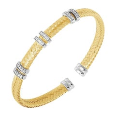 Sterling Silver 6mm Mesh Cuff with CZ, 2 Tone, 18K Gold and Rhodium Finish