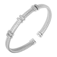 Sterling Silver 6mm Mesh Cuff with CZ, Rhodium Finish