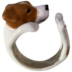 Sterling Silver 925 Enamel Brown and White Jack Russell Dog Customizable Ring