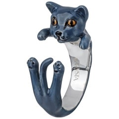 Sterling Silver 925 Enamel Grey Cat Customized Ring
