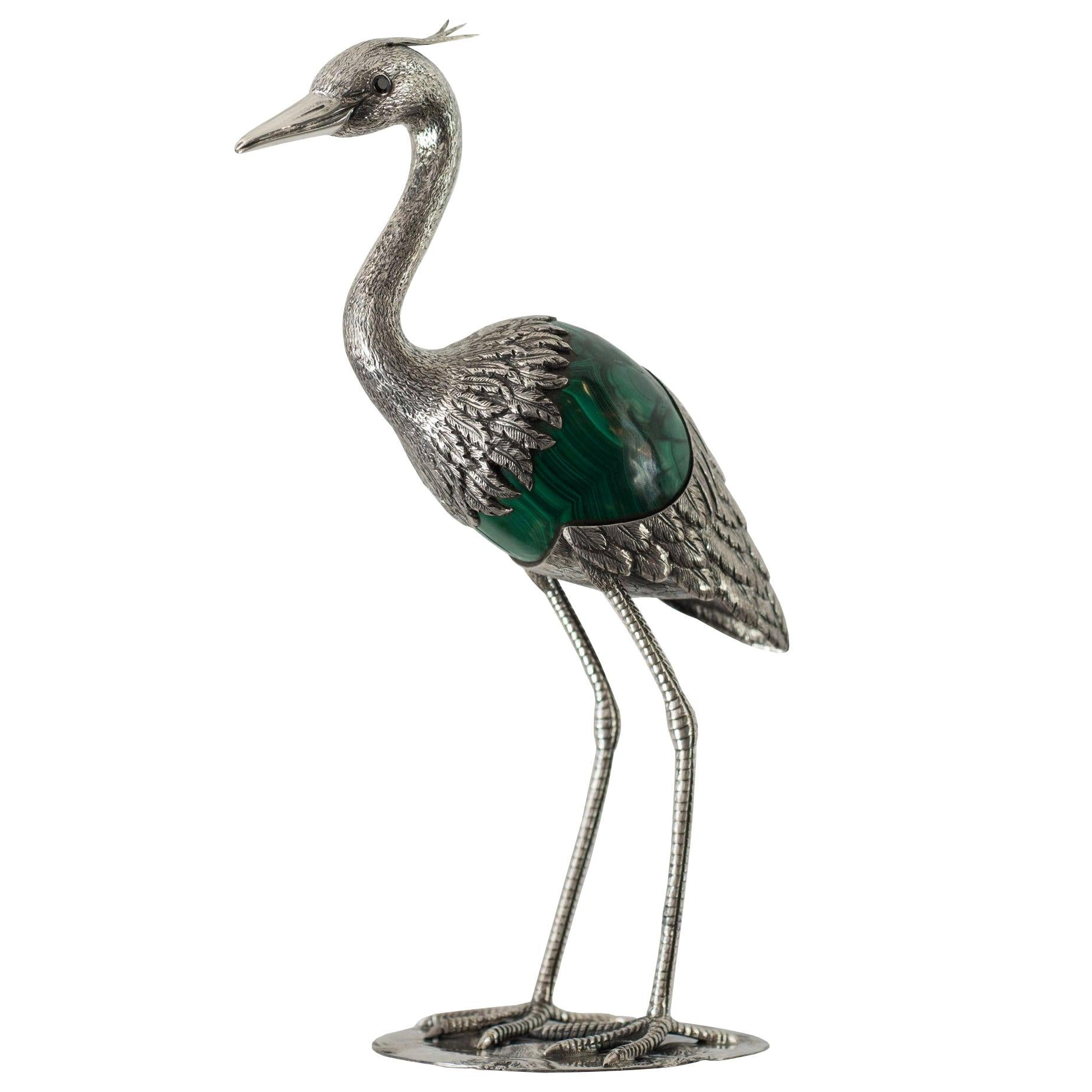 Sterling Silver 925 Heron Sculpture with Green Malachite Stone Egg