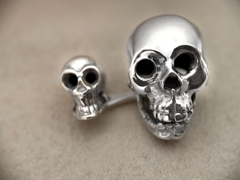 Sterling Silver 925 Skull Double Cufflinks In New Condition For Sale In Milano, IT
