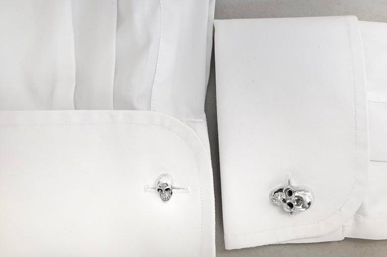 Women's or Men's Sterling Silver 925 Skull Double Cufflinks For Sale
