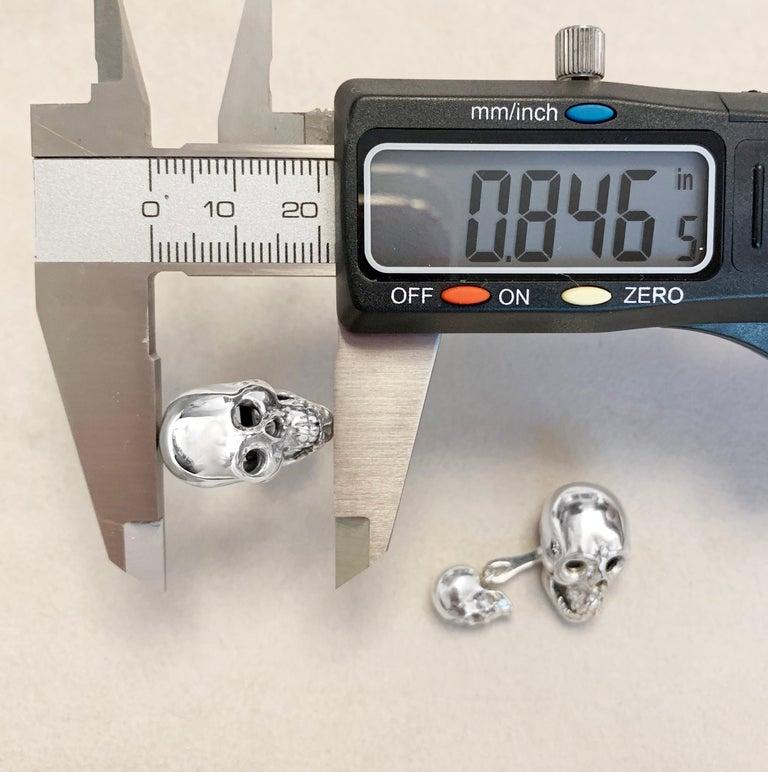 Sterling Silver 925 Skull Double Cufflinks For Sale 2