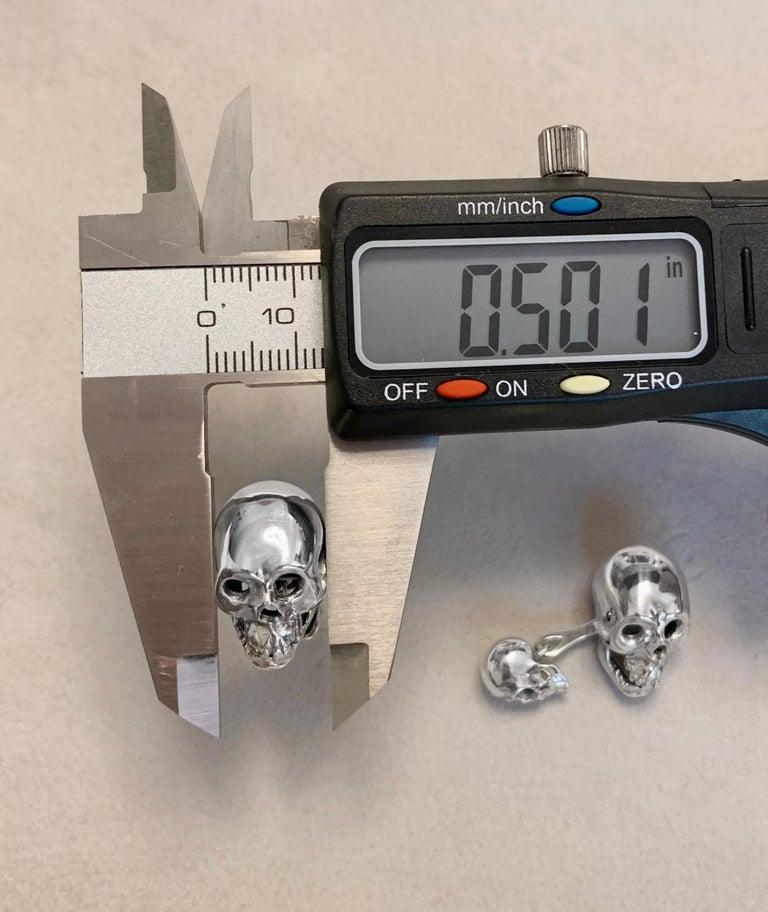 Sterling Silver 925 Skull Double Cufflinks For Sale 4