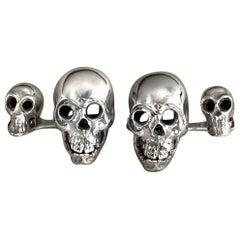 Sterling Silver 925 Skull Double Cufflinks