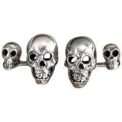 Sterling Silver 925 Skull Double Cufflinks
