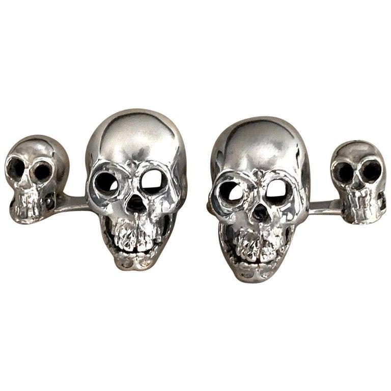 Sterling Silver 925 Skull Double Cufflinks For Sale