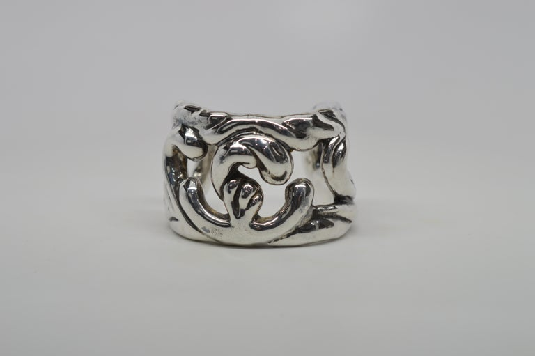 Sterling Silver Abstract Cuff Bracelet In Good Condition For Sale In Mount Kisco, NY