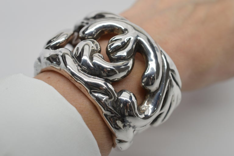 Women's Sterling Silver Abstract Cuff Bracelet For Sale