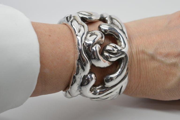 Sterling Silver Abstract Cuff Bracelet For Sale 2