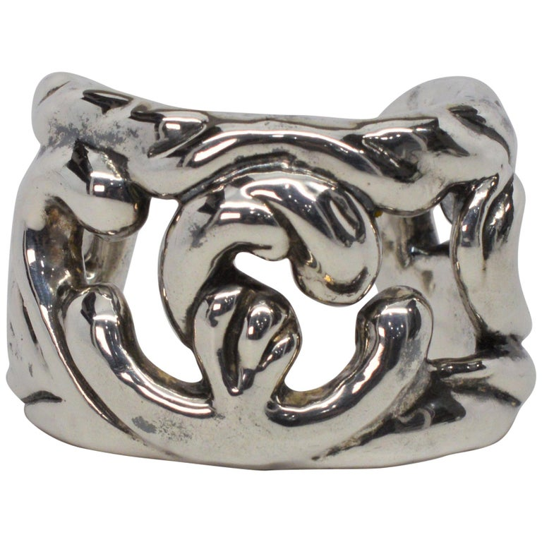 Sterling Silver Abstract Cuff Bracelet For Sale