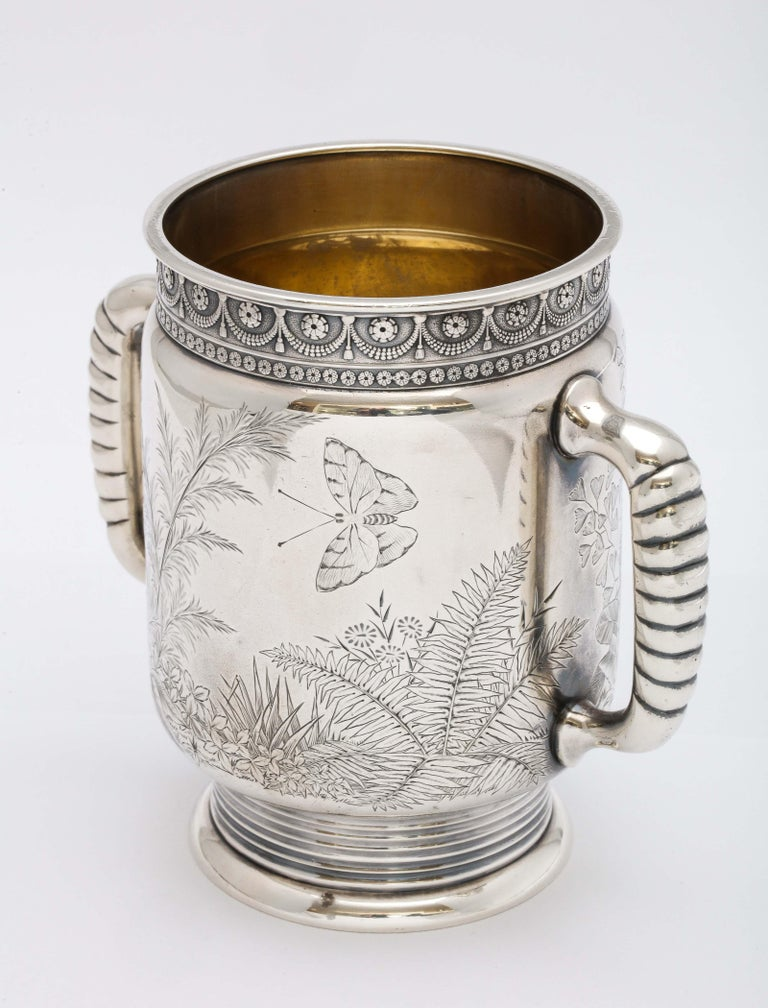 Sterling Silver Aesthetic Movement Two-Handled Mug by Gorham For Sale 12