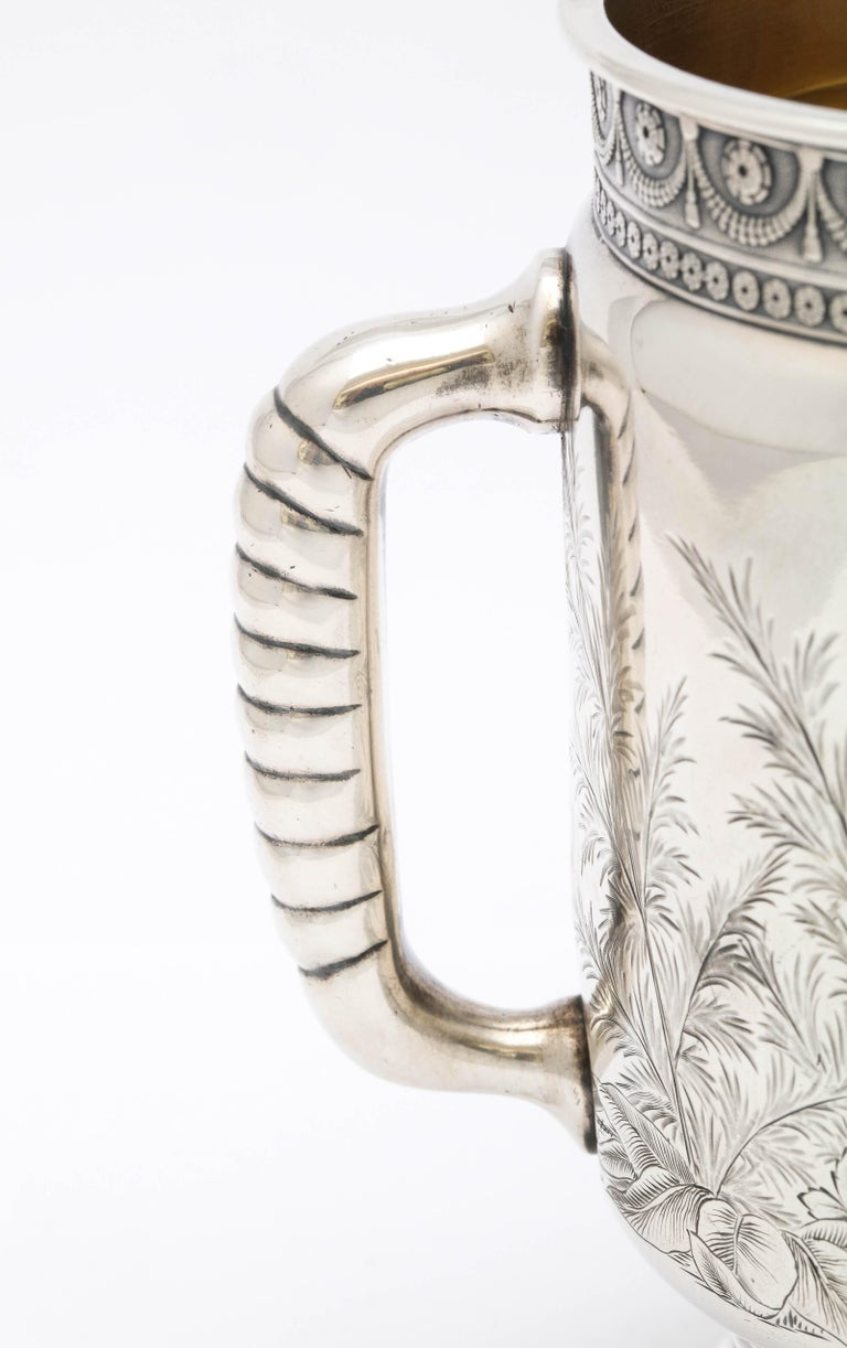 Late 19th Century Sterling Silver Aesthetic Movement Two-Handled Mug by Gorham For Sale