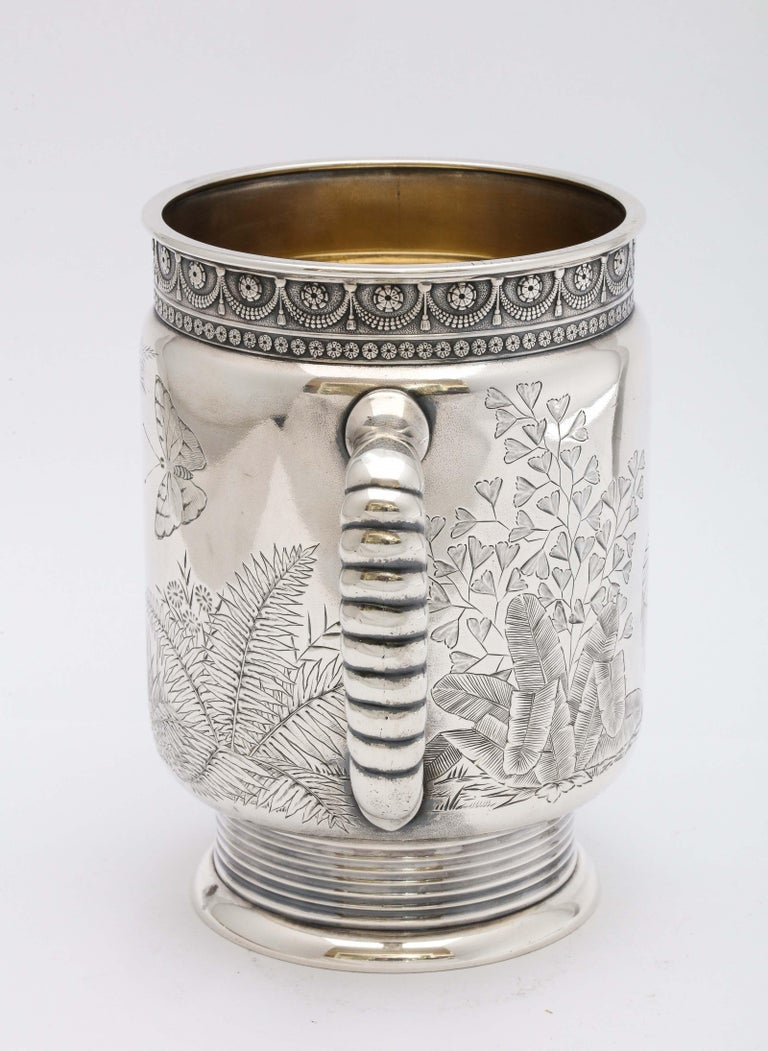 Sterling Silver Aesthetic Movement Two-Handled Mug by Gorham For Sale 3