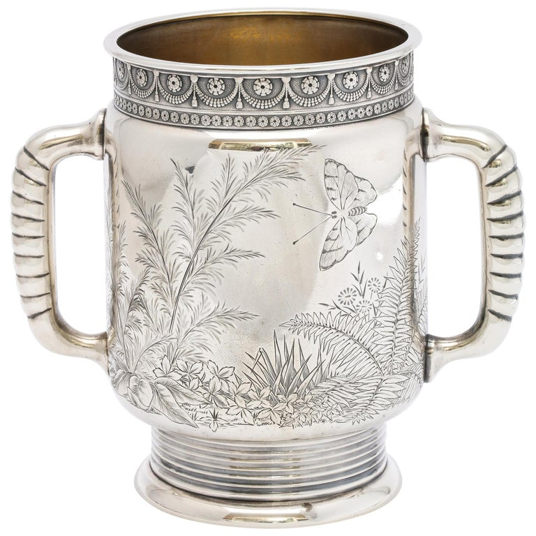 Sterling Silver Aesthetic Movement Two-Handled Mug by Gorham For Sale