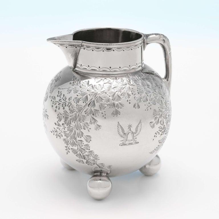 English Christopher Dresser Design Antique Sterling Silver Tea Set on Tray by Elkington For Sale