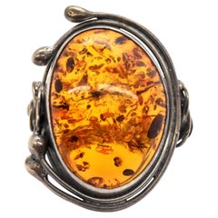 Sterling Silver Amber Fashion Ring