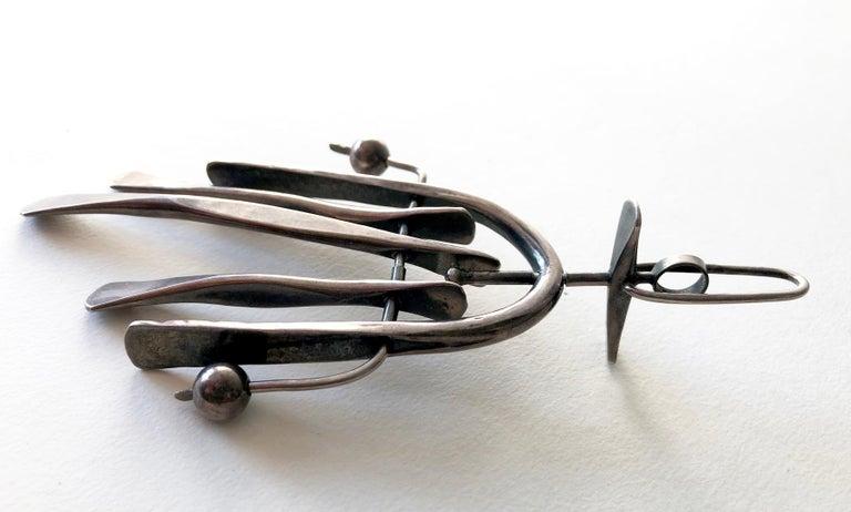 Women's or Men's Sterling Silver American Modernist Handwrought Kinetic Pendant For Sale