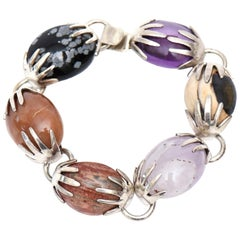 Sterling Silver, Amethyst and Agate Stone Bracelet Hallmarked