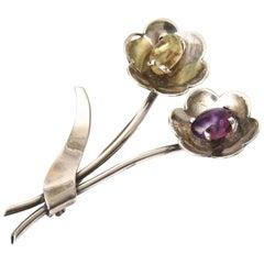 Sterling Silver, Amethyst, Citrine Flower Pin Brooch Hallmarked Vintage