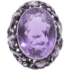 Sterling Silver Amethyst Ring, Arts & Crafts, circa 1900