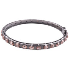 Sterling Silver and 14 Karat Rose Gold Diamond Bangle Bracelet