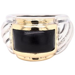 Sterling Silver and 14 Karat Yellow Gold Black Onyx Cable Ring