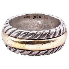 Sterling Silver and 14 Karat Yellow Gold Cable Ring