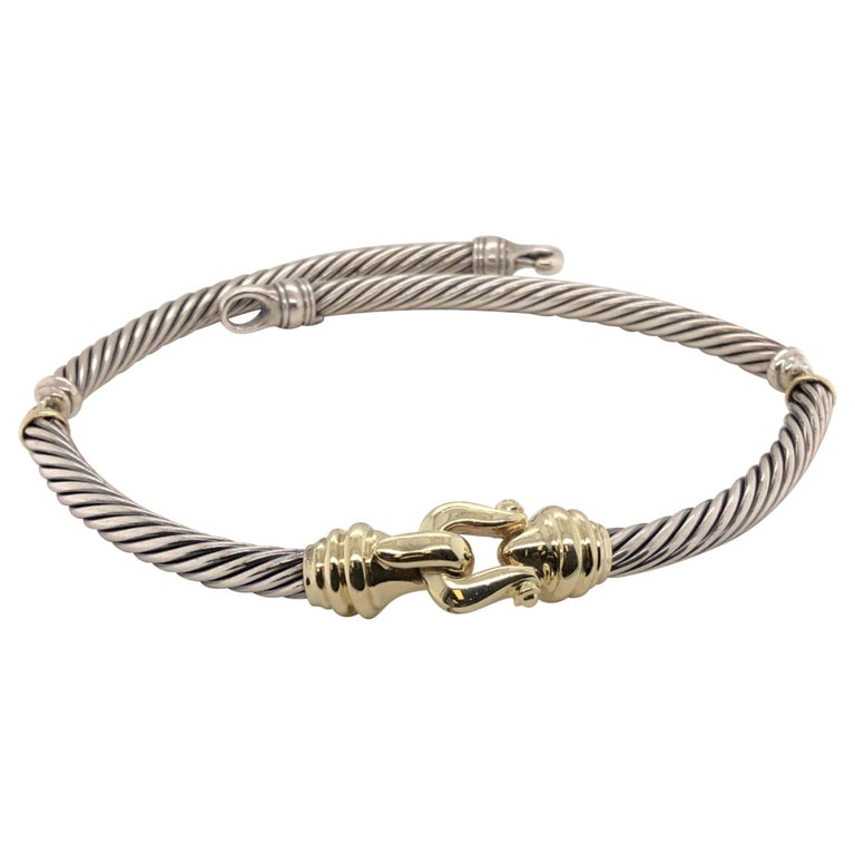 Sterling Silver and 14 Karat Yellow Gold David Yurman Thoroughbred Necklace For Sale