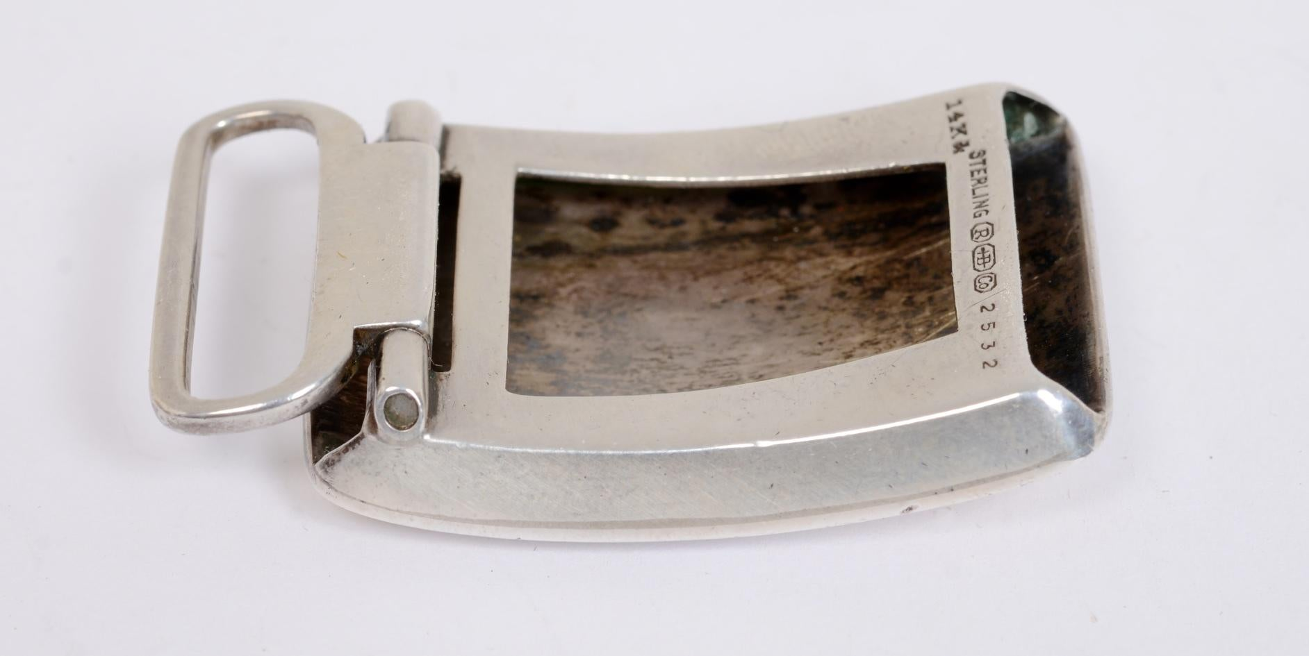 Sterling Silver and 14 Karat Gold Belt Buckle by R. Blackinton & Co.