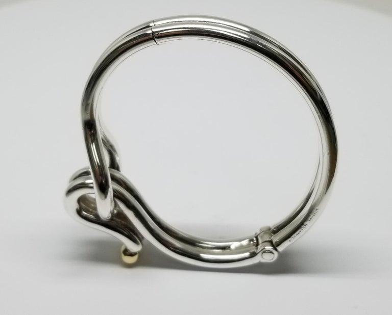 Modern Sterling Silver and 14 Karat Gold Solid Tube Designer Bracelet For Sale