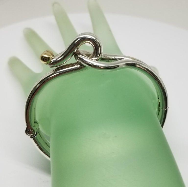 Sterling Silver and 14 Karat Gold Solid Tube Designer Bracelet For Sale 3