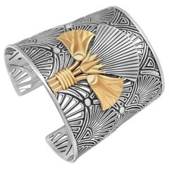 Sterling Silver and 18 Karat Gold Egyptomania Revival Lotus Cuff