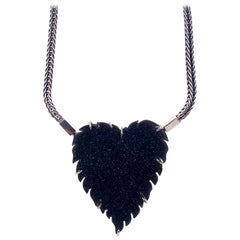 Sterling Silver and 18 Karat Gold Fox Tail Chain with Black Druzy Heart Clasp