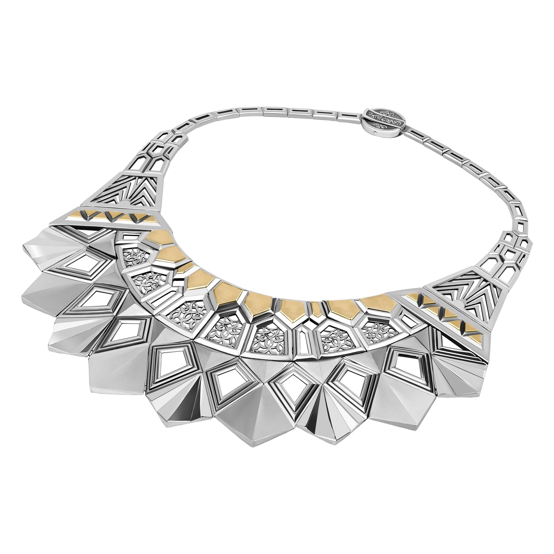Sterling Silver and 18 Karat Gold Mamluk Muqarnas Collar Necklace