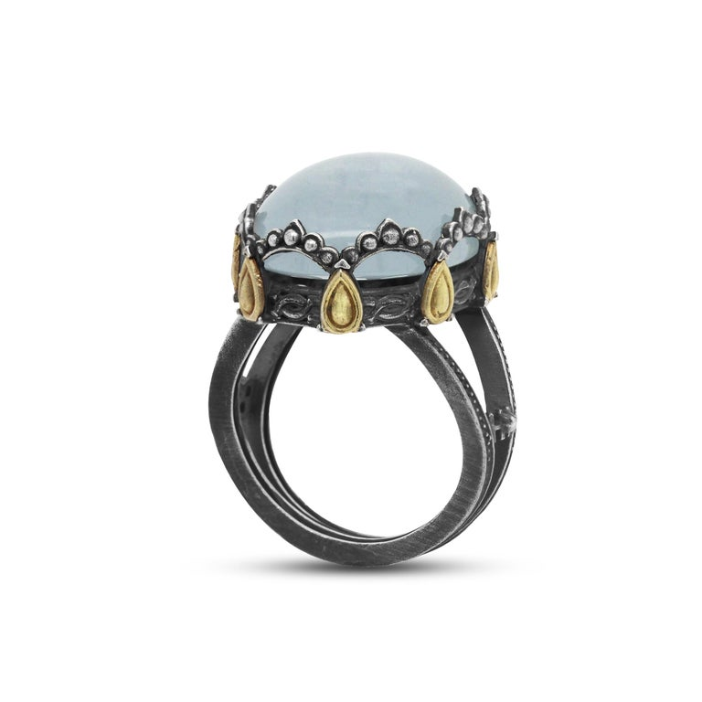 Oval Cut Sterling Silver and 18 Karat Gold Oval Dome Ring with Aquamarine Center For Sale