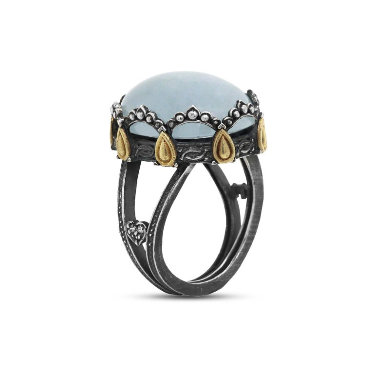 Sterling Silver and 18 Karat Gold Oval Dome Ring with Aquamarine Center In New Condition For Sale In Boca Raton, FL