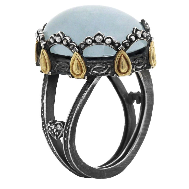 Sterling Silver and 18 Karat Gold Oval Dome Ring with Aquamarine Center For Sale