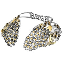 Sterling Silver and 18 Karat Gold Statement Peacock Collar