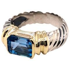 Sterling Silver and 18 Karat Yellow Gold David Yurman Blue Topaz Ring