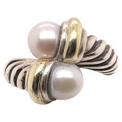 Sterling Silver and 18 Karat Yellow Gold David Yurman Pearl Bypass Ring