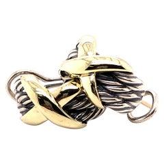 "Sterling Silver and 18 Karat Yellow Gold David Yurman ""X"" Earrings"